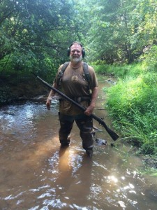 Wayne Pase pictured in the mud and water with his recent Enfield Rifle found with his XP DEUS. An amazing period piece which he recoved in great condition.